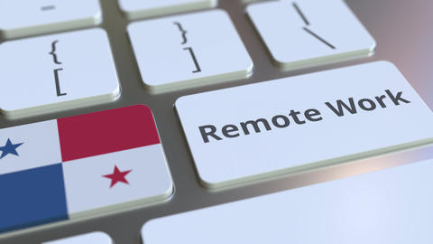 Remote Work text and flag of Panama on the computer keyboard. Telecommuting or Live-Action