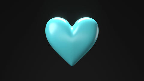Pale blue broken heart objects in black background. Heart shape object shattered into pieces Animation