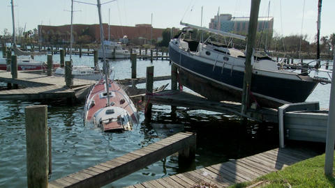 Boats are beached after Hurricane Ike rips through Galveston Texas Footage