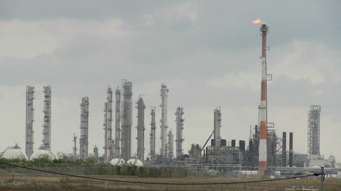 Fire burns at an oil refinery Stock Video Footage