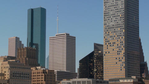 The skyline of Houston Texas skyscraper shows some damage... Stock Video Footage