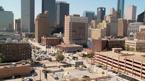 Slow pan up to the Houston skyline on a bright sunny day Stock Video Footage
