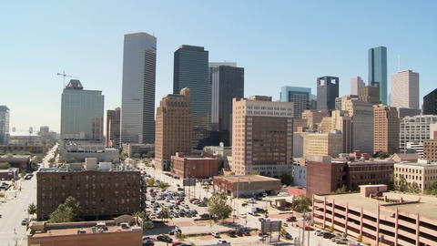 Slow pan across the Houston skyline on a bright sunny day Stock Video Footage