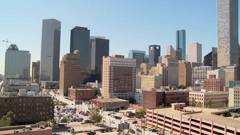 Slow pan across the Houston skyline on a bright sunny day Footage