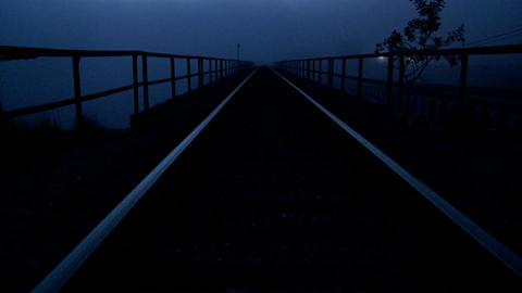 Railroad tracks at dusk Footage