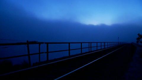 Railroad tracks at dusk Stock Video Footage