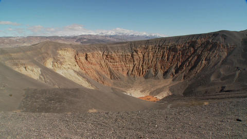 Pan across a volcanic crater in Death Valley National Park Footage