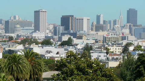 The skyline of downtown San Francisco, California by day Stock Video Footage