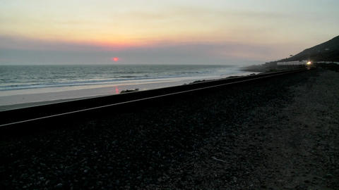 Beautiful shot of an Amtrak train passing by a California... Stock Video Footage