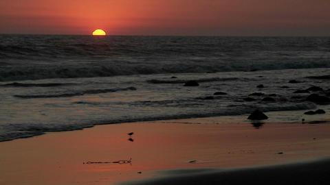 A beautiful sunset behind the California coastline Stock Video Footage