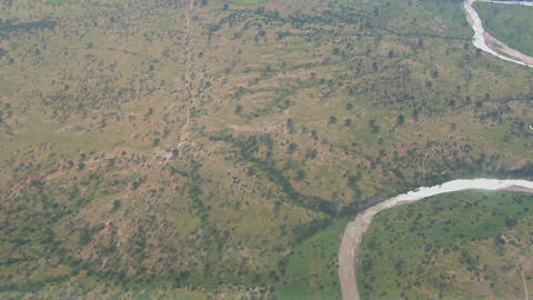 Aerial shots over the savannah plains of Africa Stock Video Footage