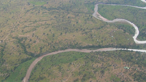 Aerial shots over the savannah plains of Africa Footage