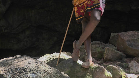 A Masai warrior boy talks on a cell phone Stock Video Footage