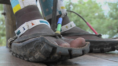 Masai footwear made from the tires of trucks Stock Video Footage