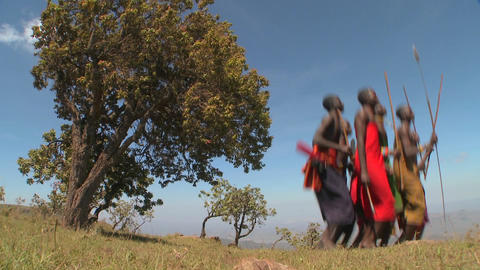 Masai warriors perform a ritual dance in Kenya, Africa Stock Video Footage