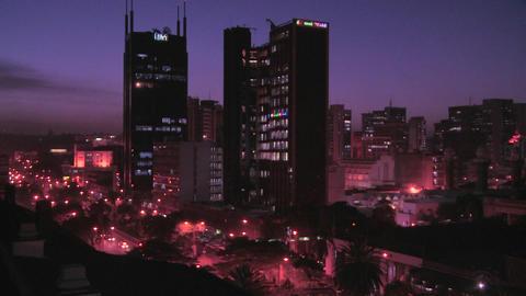 The skyline of Nairobi, Kenya at night Footage