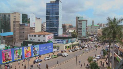 Busy street scene in Nairobi, Kenya Stock Video Footage