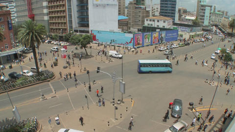 Wide angle shot of a very busy intersection in downtown Nairobi, Kenya Footage