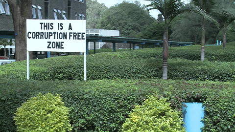 A sign at the University of Nairobia campus declared a corruption free zone Footage