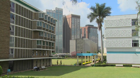A nice establishing shot of the University of Nairobi in Kenya Footage