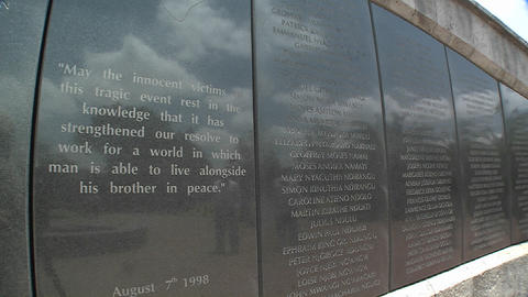 Names on the memorial honoring the victims of the 1998 US Embassy bombing in Nairobi. Kenya Footage