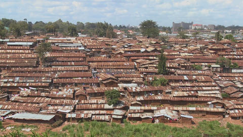 An overview of the slums of Nairobi, Kenya Stock Video Footage
