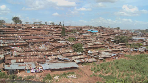 View across a poverty stricken slum in Nairobi Kenya Footage