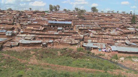 Pan across a slum in Nairobi, Kenya Stock Video Footage