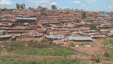 Pan across a slum in Nairobi, Kenya Footage