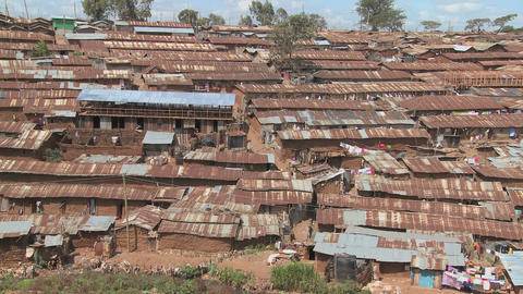 View over a rundown slum in Nairobi, Kenya Stock Video Footage