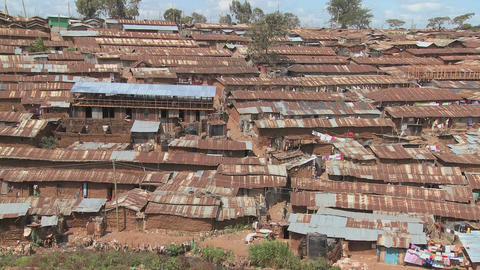 View over a rundown slum in Nairobi, Kenya Stock Video Footage