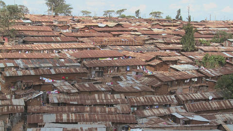 Pan across a slum area in Nairobi, Kenya Stock Video Footage
