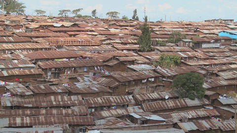 Pan across a slum area in Nairobi, Kenya Stock Video Footage