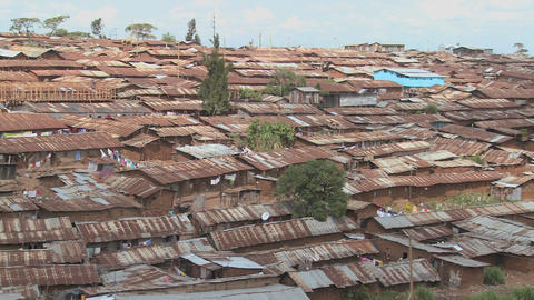 Pan across a slum area in Nairobi, Kenya Footage