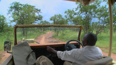 Point of view of a driver driving on a dirt road in Africa Footage