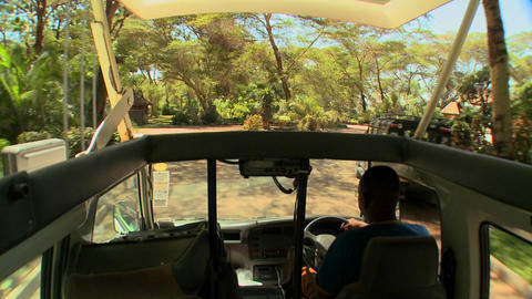 POV shot driving in an open topped safari vehicle through Africa 影片素材