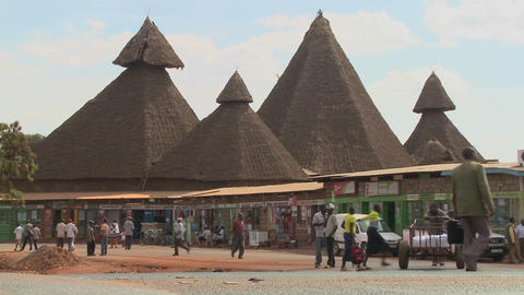 Unusual thatch roof structures in Kenya are a community... Stock Video Footage