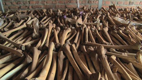 Hundreds of leg bones line the catacombs of a church... Stock Video Footage