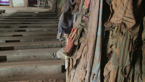 Tilt up reveals a Rwandan church following the genocide... Stock Video Footage
