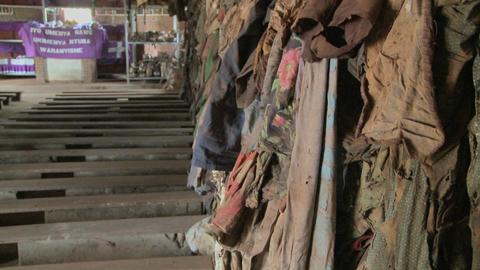 Tilt up reveals a Rwandan church following the genocide... Stock Video Footage