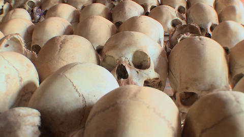 Skulls of victims of the genocide in Rwanda Footage