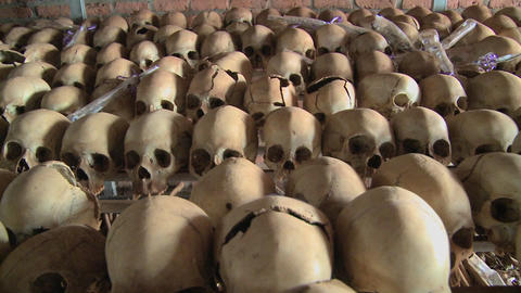 Dolly along hundreds of skulls in rows in a church following the genocide in Rwanda Footage