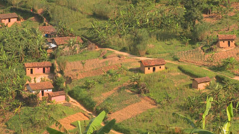 Establishing shot across the lush tropical countryside of Rwanda Footage