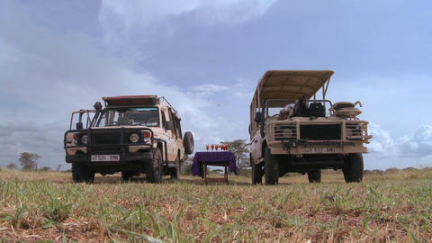 Safari jeeps are parked on the plains of Africa Stock Video Footage