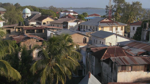 An over view establishing shot of Stone Town, Zanzibar Stock Video Footage