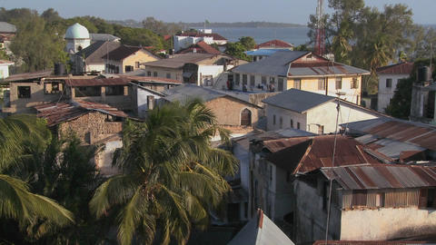 An over view establishing shot of Stone Town, Zanzibar Stock Video Footage
