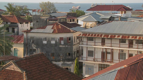 An establishing shot from a high angle of Stone Town,... Stock Video Footage