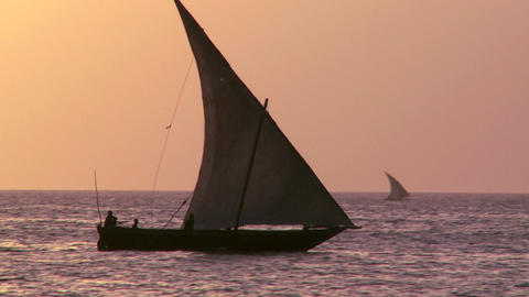 A beautiful shot of a dhow sailboat sailing at sunset in... Stock Video Footage