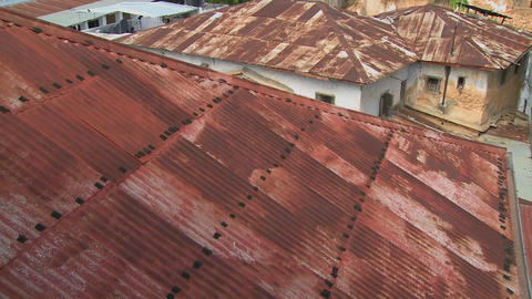 Rusted red rooftops in Stone Town, Zanzibar Footage