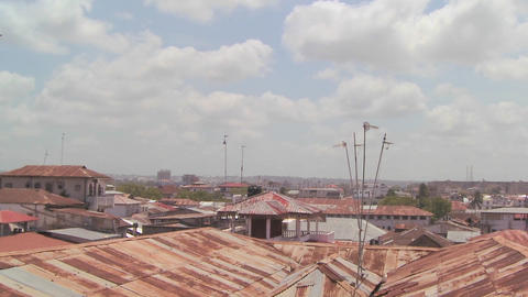 A time lapse shot over the old decaying rooftops of Stone Town, Zanzibar Footage